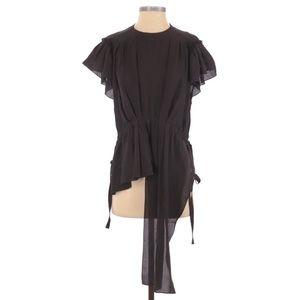 Balenciaga Silk Short Sleeve Blouse Black Side Tie